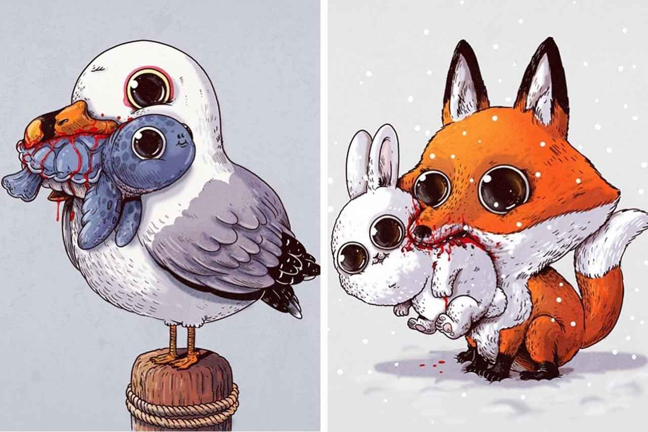 "Artist Creates Extremely Adorable ""Predator & Prey"" Illustrations"